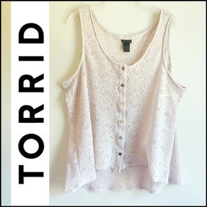 Torrid Lace Plus Size Button Up Vest Tank Top